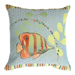 Pillow Decor Ltd. - Pillow Decor - Tropical Fish French Tapestry Throw Pillow - Everything's better under the sea — even throw pillows! Accent your fun, beachy decor with this fluffy ocean-colored pillow featuring a jolly striped tropical fish. The jacquard tapestry and design work give this piece an air of lighthearted elegance. Try stashing one on your bamboo chair or using a pair on your wicker sofa.