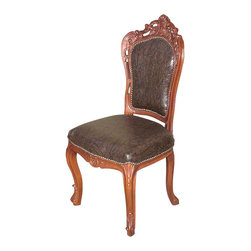 MBW Furniture - Mahogany Carved Upholstered High Back Faux Leather Occasional Side Chair - Mahogany Construction