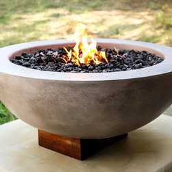 Fire Bowl - All our concrete fire bowls are GFRC.  Same technology we use in all our counter tops.  All fire bowls include gas inserts and your choice of rock or crushed glass