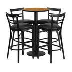 Flash Furniture - Flash Furniture Restaurant Furniture Table and Chairs X-GG-5301BRSR - 24'' Round Natural Laminate Table Set with 4 Ladder Back Metal Bar Stools - Black Vinyl Seat [RSRB1035-GG]