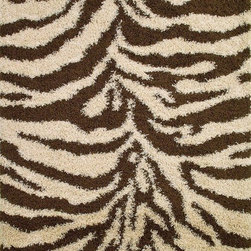 """Concord Global - Zebra Natural 6'7""""X9'3"""" Rectangle Woven RugShaggy Collection - Contemporary designs and fresh colors are up to keep with today?s fashions, soft to the touch with plush bounce-back resilient quality. Best price for the shag in the market. Heat set machine made polypropylene rugs. Made in Turkey"""