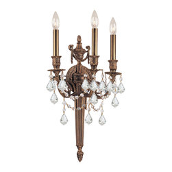 Crystorama - Crystorama 753-MB-CL-SAQ Arlington 3 Light Wall Sconces in Matte Brass - Ornate cast wall sconce with clear Swarovski Spectra crystal.
