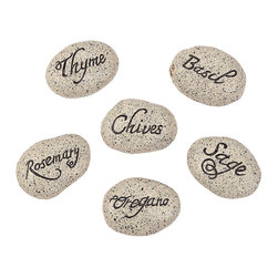 "Mini Herb Garden Stones - When I think ""farmhouse,"" I think of fresh herbs growing in small pots on the windowsill. I love these stones as plant markers."
