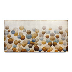 """Vertuu Design - 'Raise your Glass' Artwork - An earth-toned color palette and unique circle pattern combine in the """"Raise Your Glass"""" Artwork to create a bold, bright look. Featuring overlapping brown, tan and blue circles against a distressed white background, this hand-painted canvas art evokes images of champagne bubbles or balloons floating in a desert sky. Silver leaf accents add texture and shine to the piece."""
