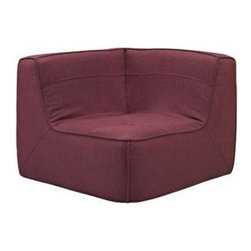"LexMod - Align Upholstered Corner Sofa in Berry - Align Upholstered Corner Sofa in Berry - There are sectional sets that claim to be modern by portraying some enlightened path forward. But for every one of these efforts, is an equal and opposite reaction. The more we use our own guile to paddle forward, the more the stream of present reality seems to rush against us. Align was designed as an attempt to wash away those hindrances that obstruct growth. If there had been a choice, the designers would have kept Align just that. But while a sectional sofa set needs to be made curved, the intent was to stay true to the original concept. Align comes generously padded and upholstered in fine fabric, with slight button tufting and trim for only the gentlest effect. Set Includes: One - Align Upholstered Corner Sofa Modern Corner Sofa, Upholstered in fine fabric, Foam padded cushions, Slight trim and button tufting, Wipe clean with dry cloth, Solid wooden legs, Black plastic foot glides Overall Product Dimensions: 40""L x 40""W x 29.5""H Seat Dimensions: 24""L x 40""W x 15""H - Mid Century Modern Furniture."