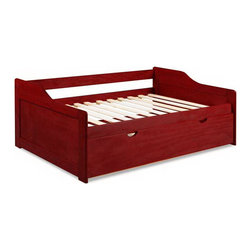Rio Twin Trundle in Mahogany - This attractive and multifunctional Rio Twin Daybed with Trundle in Mahogany will be a great addition to the youth or spare bedroom in your home. This daybed is crafted from 100% Brazilian pine wood, which is kiln dried to prevent splitting and size distortion. Twelve wood slats included eliminating need for a box spring. Slat supports are well glued and nailed with no staples. The bed also has a pull out trundle below to provide an extra sleeping space and easily accommodate an overnight guest.