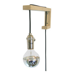 Your Nest Inspired - Sconce With Chrome Tipped Lightbulb, Big J - My big J sconce is created by a wooden support, which guides the wire from light socket to plug, in its most minimal form.