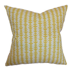 Pillow Collection - The Pillow Collection Jiri Geometric Pillow - P18-D-21047-BANANA-C100 - Shop for Pillows from Hayneedle.com! Like a forest of little triangle tress The Pillow Collection Jiri Geometric Pillow is the natural choice for your contemporary home. Made of 100% soft cotton this stunning square pillow features a plush 95/5 feather/down insert for an ultra-soft feel. The modern geometric print features a stack of pyramid shapes and is available in a variety of colors so you can customize the look.About The Pillow CollectionIdentical twin brothers Adam and Kyle started The Pillow Collection with a simple objective. They wanted to create an extensive selection of beautiful and affordable throw pillows. Their father is a renowned interior designer and they developed a deep appreciation of style from him. They hand select all fabrics to find the perfect cottons linens damasks and silks in a variety of colors patterns and designs. Standard features include hidden full-length zippers and luxurious high polyester fiber or down blended inserts. At The Pillow Collection they know that a throw pillow makes a room.