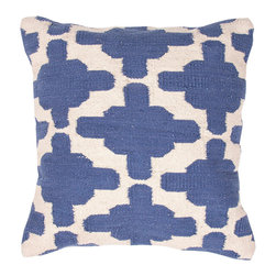 """Jaipur Rugs - Blue/Ivory color cotton gadir pillow poly fill pillow 18""""x18"""" - Hand woven from 100% cotton the Cadiz pillow collection offers a range of open geometrics in bold color combinations. The collection coordinates with Jaipur Maroc and Urban bungalow flat weave rugs."""