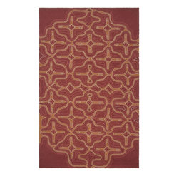 Surya - Surya Labyrinth Red Indoor/Outdoor Polypropylene Rug, 2' x 3' - The Labyrinth collection of indoor/outdoor rugs is the perfect addition for your patio or sunroom. The cheerful graphic pattern of swirls and flowers against a solid neutral background will compliment any decor. Hand hooked from 1% polyester these sturdy pieces are on duty 24/7 to protect form the elements.  Imported.Material: 100% PolypropyleneCare Instructions: Blot Stains