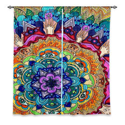 """DiaNoche Designs - Window Curtains Lined by Rachel Brown Microcosm Mandala - DiaNoche Designs works with artists from around the world to print their stunning works to many unique home decor items.  Purchasing window curtains just got easier and better! Create a designer look to any of your living spaces with our decorative and unique """"Lined Window Curtains."""" Perfect for the living room, dining room or bedroom, these artistic curtains are an easy and inexpensive way to add color and style when decorating your home.  This is a woven poly material that filters outside light and creates a privacy barrier.  Each package includes two easy-to-hang, 3 inch diameter pole-pocket curtain panels.  The width listed is the total measurement of the two panels.  Curtain rod sold separately. Easy care, machine wash cold, tumble dry low, iron low if needed.  Printed in the USA."""