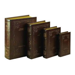 Benzara - Wood Leather Book Box Stylish Book Storage - Set of 4 - If you are looking for low cost but rare to find elsewhere decor item to bring extra galore that could refresh the decor appeal of short spaces on tables and shelves, beautifully carved 80510 WOOD LEATHER BOOK BOX S4 a set of four is one such decorative item.