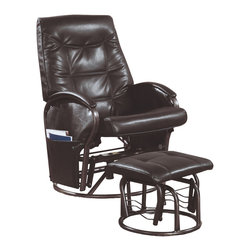 Monarch Specialties - Monarch Specialties 7273 Swivel Rocker Recliner with Ottoman in Brown Leather - Seat yourself in unsurpassed comfort and style with this brown colored recliner chair and matching ottoman. Upholstered in generously padded cushions, padded pillow top armrests, and side pockets useful for magazines, combine for a comfortable and multi-purpose chair. Accent stitching accentuates the luxurious leather-look for a tailored finish. This piece also features a swivel with an adjustable tension knob, which allows you to control the back pitch for relaxing at just the right angle.