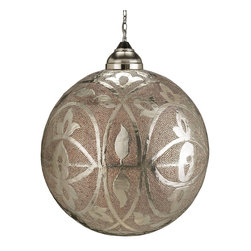 Currey & Company - Sahara Pendant - Bold and dramatic in its size and intricate pattern, the Sahara Pendant gives off a light that is tinged with the amber color of glass beads placed within some of its piercings. The metal is pierced by hand, electroplated with nickel and copper and then finished with a thick coat of lacquer to prevent oxidization.