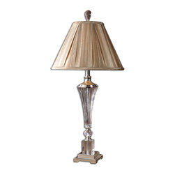 Uttermost - Uttermost Celia Crystal Table Lamp 26693 - This table lamp is made of crystal fluted glass with silver plated metal accents. The round bell shade is angle pleated, silken taupe textile.