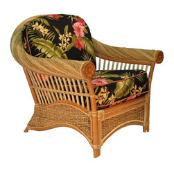 Spice Island Wicker - Arm Chair with Cushions (Nara Marsala Spun - All Weather) - Fabric: Nara Marsala Spun (All Weather)Made from wicker. Natural finish. Includes cushion. No assembly required. 34.25 in. W x 38 in. D x 36 in. H (60 lbs.)