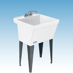 Mustee - Mustee 17F Single Basin Floor Mount Utility Sink - 17F - Shop for Commercial Laundry and Utility from Hayneedle.com! The Mustee 17F Single Basin Floor Mount Utility Sink is almost like having a second pair of hands in the laundry room. This free-standing tub features a 19-gallon basin made from Durastone a blend of fiberglass stone and resin that's naturally resistant to mold and mildew. Heavy gauge steel legs support the piece which is simple to assemble. A self-draining back shelf and curb makes sure any spillage ends up in the tub. Leak-proof drain includes a stopper. Unit is fitted for a 4-inch diameter faucet (not included).About Trumbull IndustriesFounded in 1922 as a single branch plumbing supply house Trumball Industries has evolved over the years in to a privately held corporation and full-line distributor with specialized divisions. With 6 branch locations Trumball Industries has several divisions: an Industrial Division that provides products and services to industrial manufacturers a Home Center Division that offers expertise in all major kitchen and bath products a Municipal Division that offers a full line of water and sewer products and a Master Distribution Center with 500 000 square feet housing over 80 000 products. Aside from providing quality services to their customers the people at Trumbull Industries are happy provide a tour of any of their facilities as well as assist you with any design layout or purchasing decisions.