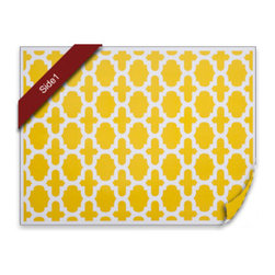 diPotter LLC - 24 Fret Placemats (Golden Yellow) - 24 Reversible Paper Placemats (Vibrant Yellow)