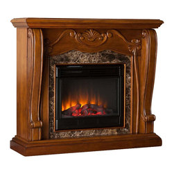 Southern Enterprises - Taylor Electric Fireplace - A beautiful walnut finish, Victorian-esque design, and faux marble combine to create this timeless design; add the beauty and romance of a glowing fire and you have a versatile electric fireplace that will complement any room in your home. To top it off, this fireplace requires no electrician or contractor for installation, allowing for instant remodeling without the usual mess or expenses. This walnut fireplace features traditional, pilaster wood corbels, an intricate center medallion, and luxurious faux marble. The hand-carved details and exquisite elements of the design make it a beautiful focal point to build a room upon. The electric insert features realistic flickering flames and glowing embers - brightness of each can be adjusted with a simple push of a button. in addition to adjusting the thermostat, the electric fireplace also offers the option of using with or without heat for year-round enjoyment. Convenience and ease of assembly are just two of the reasons why this fireplace is perfect for your home. The ornate, elegant style of this fireplace works well in traditional and transitional homes. This handsome fireplace is great for the living room and bedroom, and even adds a warm, romantic touch to the dining room or home office. Let this portable fireplace give your home a more welcoming and enjoyable atmosphere.
