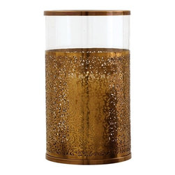 Arteriors - Benton Large Hurricane - Elevate candlelight with this unique hurricane lantern. Its brass sleeve boasts a delicately decorative filigree to cast an enchanting pattern play wherever you choose to place it.