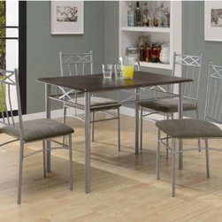 "Monarch Specialties Inc. - 5 Piece Dining Set - This five piece dining set includes a sleek, cappuccino table with silver tube metal legs and a decorative apron that will bring a touch of style to your home. The chairs that are featured echo the decorative accents of the table and also have plush cushion seats for added comfort. This set is ideal for smaller dining spaces like in apartments and condos. Features: -Silver tube metal legs.-Padded seats.-Ideal for small spaces.-Set includes table and four chairs.-Cappuccino table top with silver metal finish.-Distressed: No.-Top Finish: Cappuccino.-Base Finish: Silver.-Chair Finish: Silver.-Powder Coated Finish: No.-Gloss Finish: No.-Top Material: MDF.-Base Material: Metal.-Chair Material: Metal.-Reclaimed Wood: No.-Number of Items Included: Includes 5 items: 1 table and four chairs.-Hardware Material: Metal.-Non-Toxic: Yes.-Scratch Resistant: No.-Rust Resistant: No.-Leaf Included: No.-Seating Capacity: 4.-Shelving: No.-Upholstered Side Chair: Yes -Upholstered Side Chair Back: No.-Upholstered Side Chair Seat: Yes.-Side Chair Upholstery Material: Microfibre.-Side Chair Upholstery Color: Grey..-Table Base Type: Leg.-Outdoor Use: No.-Swatch Available: No.-Commercial Use: No.-Recycled Content: No.-Eco-Friendly: No.-Product Care: Clean with damp soft cloth.Dimensions: -Table: -Overall Table Height - Top to Bottom: 30"".-Overall Table Width - Side to Side: 27.5"".-Overall Table Depth - Front to Back: 43"".-Table Leg Height - Top to Bottom: 30"".-Table Leg Width - Side to Side: 1.5"".-Table Leg Depth - Front to Back: 1.5"".-Overall Table Weight: 80 lbs..-Side Chair: -Overall Side Chair Height - Top to Bottom: 36"".-Overall Side Chair Width - Side to Side: 16"".-Overall Side Chair Depth - Front to Back: 16"".-Side Chair Seat Height: 30"".-Side Chair Leg Height - Top to Bottom: 17"".-Side Chair Leg Width - Side to Side: 1"".-Side Chair Leg Depth - Front to Back: 1""..-Arm Chair: No.Assembly: -Assembly Required: Yes.-Tools Needed: Allen key (provided).-Additional Parts Required: No.Warranty: -Product Warranty: 1 year limited."