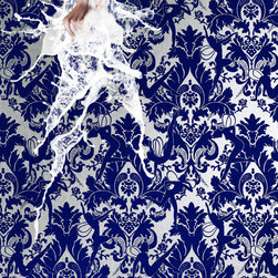 """Marcel Wanders Forest Muses Wallpaper - Flock wallpaper by iconic dutch designer Marcel Wanders for Graham & Brown. """"Transient and daring they are camouflaged to the naked eye. It is but the soft whispers they breathe that beckon you forward. Darkness breaks and in a moment the fairies emerge dancing through the damask forest. """"Closer, closer"""" they whisper """"may we dance for you?"""""""""""