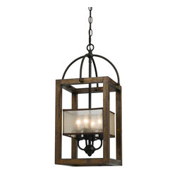 CAL Lighting - Cal Lighting FX-3536/4 4 Ltg Mission Wood/Metal Chandelier With Organza Shade - CAL Lighting FX-3536/4 4 LTG Mission wood/metal chandelier with organza shade
