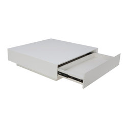 Nuevo Living - Dumas Coffee Table, White Lacquer - Dumas Coffee Table features a low profile construction with a spacious square top and two drawers. Nuevo Dumas Coffee Table offers a perfect venue for any function.