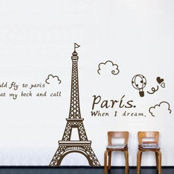 ColorfulHall Co., LTD - Paris When I Dream I Could Fly To Pairs It'S At My Back And Call Wall Saying - You will find hundreds of affordable peel - and - stick wall decal designs, suitable for all kinds of tastes and every room in your house, including a children's movie theme, characters, sports, romantic, and home decor designs from country to urban chic. Different from traditional decals, vinyl wall decals is with low adhesive that allows you to reposition as often as you like without damaging the paint. Application is easy: peel offer the pre-cut elements on the design with a transfer film, and then apply it to your wall. Brighten your walls and add flair to your room is just as easy.