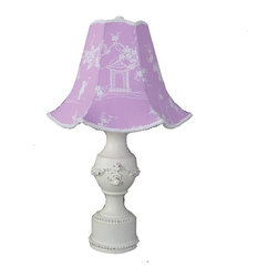 Pagoda Lavender Pedestal Lamp - This antique finished pedestal lamp features floral appliques paired with our adorable flared pagoda lavender lampshade. Sweet and romantic, this antique finished lamp features our bella appliques and a soft blue toile shade.