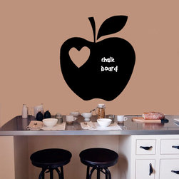 Wall Vinyl Chalkboard Sticker Decal Apple with Heart A1617 - WALL ART DECO VINYL CHALKBOARDS