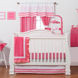 "Simplicity Hot Pink - Infant Set (3pc no bumper) - Let the simple side of Simplicity Hot Pink bring out the sweetness in your room!  Simplicity Hot Pink is nothing too sweet for any personality!  Beautiful hues of pink with white throughout make the most of this set.  This 3pc set includes:  crib bed skirt, crib sheet, and a coordinating medium quilt. Bed skirt repeats our bumper design with lines of white and both colors of pink in cotton print fabric.  Crib sheet accents this collection in our designer cotton print fabric - ""Pink Dots"".  Simplicity Hot Pink coordinating quilt is an overall universal quilt like no other.  Soft minky on both sides make this the perfect blanket anytime and anywhere! Pink minky on both sides with accents framed in white and trimmed in our pink satin trim.  Not only does this quilt coordinate with the entire set you can also enjoy using this outside the crib and for years to come! SAVE WHEN YOU BUY AS A SET!"
