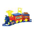 Kidz Motorz - Talking Train Ride-On Toy with Track - Choo Choo! Here comes the National Products Talking Train! Your child can be a conductor of this ride-on toy as it travels around its 19 foot track either forwards or in reverse. Featuring electronic sounds and an auto brake system, this locomotive also can ride off the track as a foot-to-floor vehicle. All aboard! Features: - Red, blue and yellow - For ages 18 months & up - Comes with 19' track - Rides off track as a foot-to-floor - Forward and reverse gears - Electronic sounds - Auto-brake system - Maximum rider weight: 44 lbs