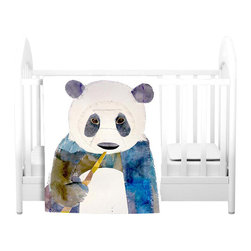 DiaNoche Designs - Throw Blanket Fleece - Panda - Original Artwork printed to an ultra soft fleece Blanket for a unique look and feel of your living room couch or bedroom space.  DiaNoche Designs uses images from artists all over the world to create Illuminated art, Canvas Art, Sheets, Pillows, Duvets, Blankets and many other items that you can print to.  Every purchase supports an artist!