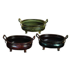 """Benzara - Metal Planter - Set of 3 - If you are looking for low cost but rare to find elsewhere utility- decor item to bring extra galore that could refresh the decor appeal of short spaces in garden or porch, beautifully carved 73726 Metal PLANTER Set of 3 Assorted is the one such decorative item set. This set of three planter is in news since its introduction. It is exclusively designed for limited editions that makes it more important for natural decor and gardening enthusiasts.; Material: Rust free metal alloy; Round and deep shaped with elevated base; Color: Red, bronze finish and antique brass finish; Flexible garden decor; Impressive gift; Exhibits passion for art; Size: 12 """"W (min. aprox. dimensions) each with both side handles that make its handling convenient;"""