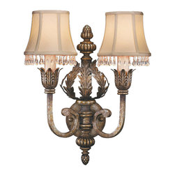 Fine Art Lamps - A Midsummer Nights Dream Sconce, 213350ST - Classically designed with leaves, swirls and acorn top, this symmetrical two-lamp sconce seems to have come from a fairy-tale garden pavilion. The soft, silvery patina and silk shades with crystal drops add to the romantic vibe.