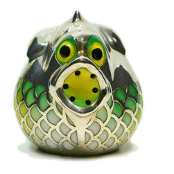 Lavish Shoestring - Consigned Silver & Porcelain Pufferfish or Fugu Table Spice or Salt Condiment, A - This is a vintage one-of-a-kind item.