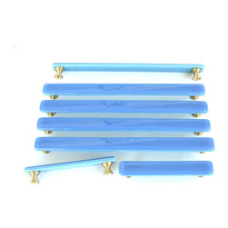 Custom screw placement and sizes on handles and pulls by Uneek Glass Fusions - Periwinkle fused glass cabinet handle or drawer pull in custom sizes and screw placement.