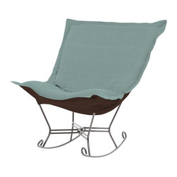 Howard Elliott - Sterling Breeze Scroll Puff Rocker - Titanium Frame - The Sterling Puff Chair is a simple yet sophisticated piece. The fabric features a hopsack look with a crisp hand rich color.