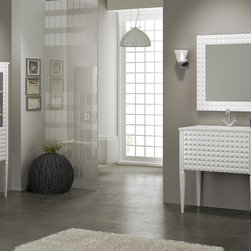"""Macral - Macral Design Products - Transitional Vanity bathroom. Diamond 32"""". White gloss with porcelain glass countertop."""