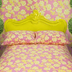 Wake Up Frankie - Wake Up Frankie Candy Roses Duvet Cover Set in Pink/Lemon - Have sweet dreams every night with the fun and flirty Wake Up Frankie Candy Roses Duvet Cover Set. With lemon, yellow, and white roses on a bright pink background, the bedding instantly adds a delicate and feminine touch to your bedroom.