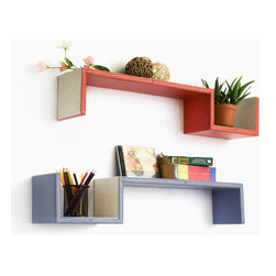Blancho Bedding - [Grayish Purple & Red] S-Shaped Leather Wall Shelf / Floating Shelf (Set of 2) - These beautifully crafted S Shaped Wall Shelves display the art of woodworking and add a refreshing element to your home. Versatile in design, these leather wall shelves come in various colors and patterns. They spice up your home's decor, and create a multifunctional storage unit for all around your home. These elegant pieces of wall decor can be used for various purposes. It is ideal for displaying keepsakes, books, CDs, photo frames and so much more. Install as shown or you may separate the shelves to create a layout that suits your taste and your style. Each box serves as a practical shelf, as well as a great wall decoration. Each measures approx. 31.9(W) x 5.9 (H) x 5.9(D) inches, Thick: 0.6 inches.