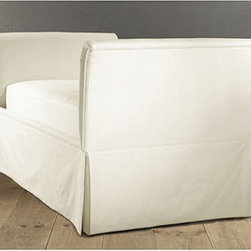 Ballard Designs - Diandra Daybed - This high-sided daybed has a sleigh-like feel, giving it a romantic look. I like that you could put your feet up, and your back would still be fully supported. It's perfect for reading books or for reading to a toddler.