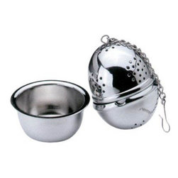 Cuisinox - Tea infuser Ball with Caddy - Fill this stainless steel tea ball with your favorite tea or mulling spice, without the worry of loose leaves or spices. It can also be filled with a mixture of fresh herbs to flavor stocks, soups and stews. Once removed, simply place it in it's caddy. A classy add-on to tea sets and tea baskets.