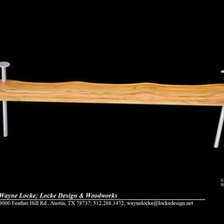 """""""Nailed It"""" Indoor or Outdoor Bench - Someone asked me if I use nails in my work and this whimsical bench is the result. The nails are powder coated aluminum and the seat is Teak. it will function beautifully indoors or out."""