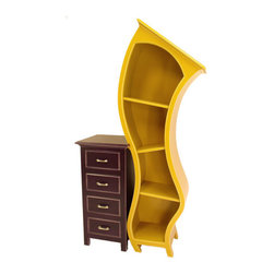 Stacked Cabinet No. 3 - Stacked Cabinet No.3 plays off of the charming aesthetic of opposites attracting.  The curvy bookshelf has lovingly sidled up to the more austere lines of the four-drawer chest to create a piece that provides open and hidden storage for practicality with flair.