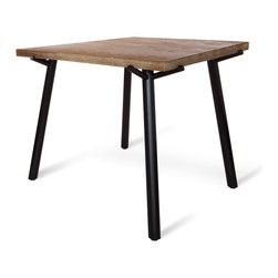 Blu Dot - Blu Dot Branch Square Dining Table, Black - Solid, weathered oak propped up by black or grey powder-coated steel legs. The Branch Square Dining Table is made from solid wood. This means that it may react dynamically to its environment and swell and crack with changes in humidity and temperature.