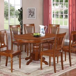 "East West Furniture - 7Pc Avon Oval Dining Set with Single Pedestal and 6 Plainville Wood Seat Chairs - 7Pc Avon Oval Dining Set with Single Pedestal with 18"" Butterfly Leaf and 6 Plainville Wood Seat Chairs; This glossy saddle brown dining set makes a stately addition to any room and corresponds with many kitchen themes.; The oval tabletop seats six around a single pedestal base. You can dress up this table for formal dining occasions.; A single bevel edge and a rounded finish ensure this table fits into a small dining room, perfect for tiny apartments.; The straight backs of these chairs can be padded in any shade so that the dining set complements any color scheme in a home.; The compact table and chairs ensure guests will enjoy an intimate meal with full back support.; Weight: 211 lbs; Dimensions: Table: 42-60""L x 42""W x 30""H; Chair: 18""L x 18""W x 38""H"
