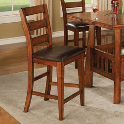 Coaster - Lavista Collection Dark Oak 24in. H Bar Stool, Set of 2 - You can have a stunning dining set with the addition of this attractive bar stool. The lovely piece features a dark oak finish with heavy distressing as well as a dark brown vinyl seat and long tapered legs. Make your home as exquisite as possible with help from this counter chair.