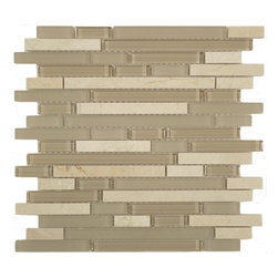 """Euro Glass - Driftwood Brown Random Brick Series Glossy & Frosted Glass and Stone - Sheet size: 12"""" x 12"""""""